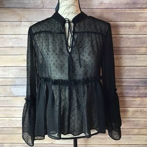 Libby Edelman Sheer Flowing Sleeves Blouse Size M